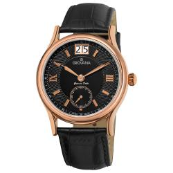 Grovana Men's 'Big Date' Black Leather Strap Watch