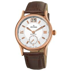 Grovana Men's 'Big Date' Brown Leather Strap Watch