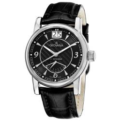 Grovana Men's 'Day Retrograde' Black Leather Strap Quartz Watch