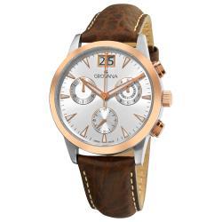 Grovana Men's 1722.9552 Brown Leather Strap Chronograph Quartz Watch