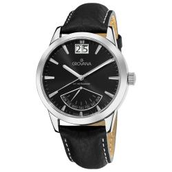 Grovana Men's 1722.1537 'Day Retrograde' Black Dial Watch
