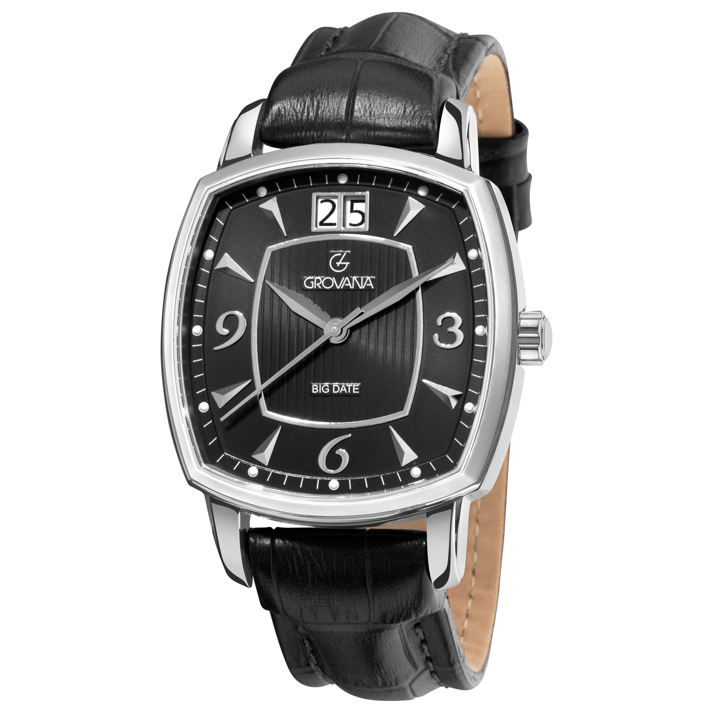 Grovana Men's 1719.1537 Black Leather Strap Quartz Watch