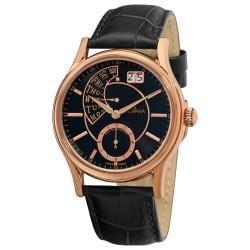 Grovana Men's 1718.1567 Retrograde Dial Black Strap Quartz Watch