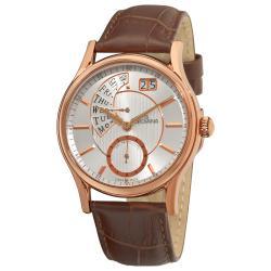Grovana Men's 1718.1562 Retrograde Dial Brown Strap Quartz Watch