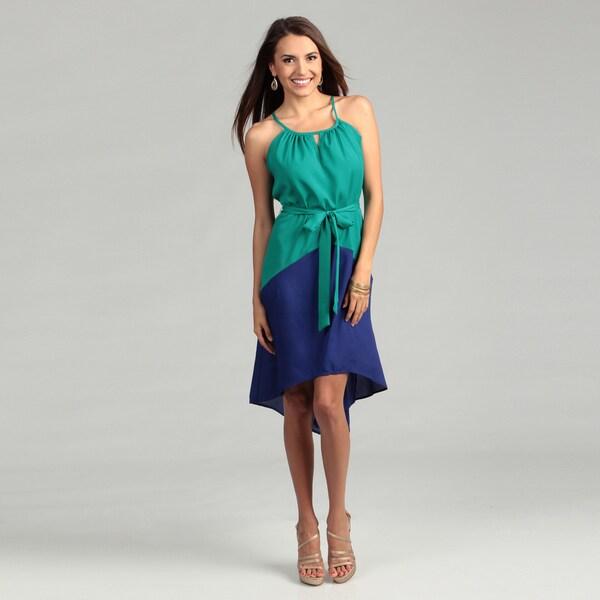 Tiana B Women's Turquoise/ Royal Colorblock Dress