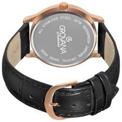 Grovana Men's 1026.1567 Black Moonphase Dial Rose Goldtone Watch