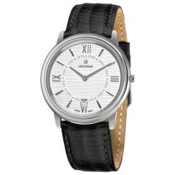 Grovana Men's 1708.1132 Silver Dial Black Leather Strap Watch