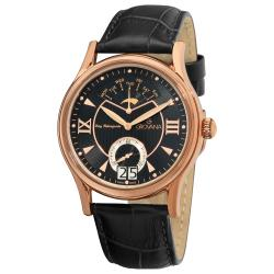 Grovana Men's 1715.1567 Rose Goldtone Stainless Steel Black Leather Strap Watch