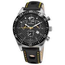 Grovana Men's 1620.9578 'Retrograde Chronograph' Black Strap Watch