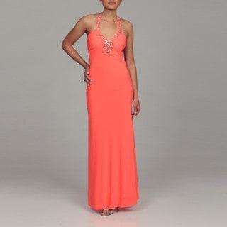 Morgan & Co. Junior's Neon Coral Beaded Halter Dress FINAL SALE
