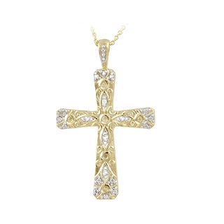 DB Designs 18k Gold over Sterling Silver Diamond Accent Cross Necklace