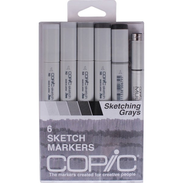 Copic Markers 'Sketching Grays' Sketch Marker and Multi-Liner Pen (Pack of 6)