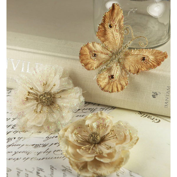 Prima Flowers Meredith Velvet Butterflies and Fabric Flowers