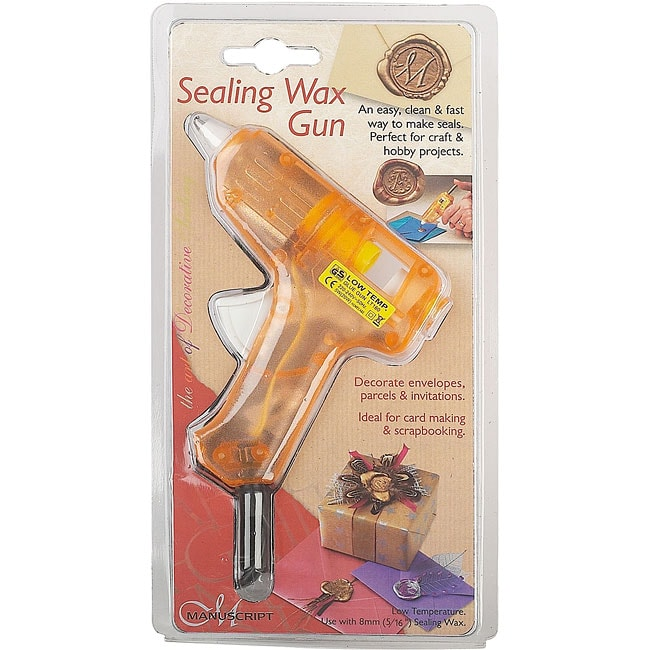 Manuscript Orange Plastic Sealing Wax Gun with Two Wax Sticks