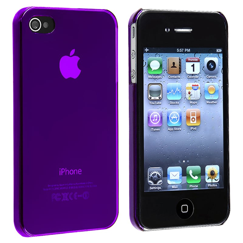INSTEN Purple Snap-on Slim-fit Phone Case Cover for Apple iPhone 4/ 4S
