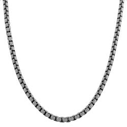 Fremada Oxidized Sterling Silver 3.8-mm 20-inch Round Box Chain