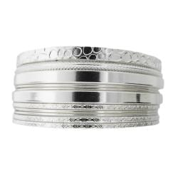 Silvertone Textured 11-piece Bangle Bracelet Set