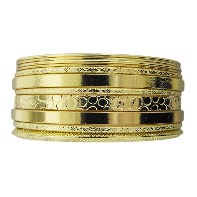 Goldtone Textured 11-piece Bangle Bracelet Set
