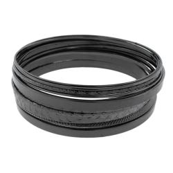 Black-plated Stackable Textured 11-piece Bangle Bracelet Set