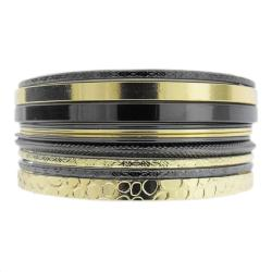 Two-tone Stackable Textured 11-piece Bangle Bracelet Set