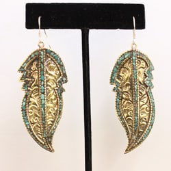 Brass and Sterling Silver Turquoise Leaf Earrings (Nepal)