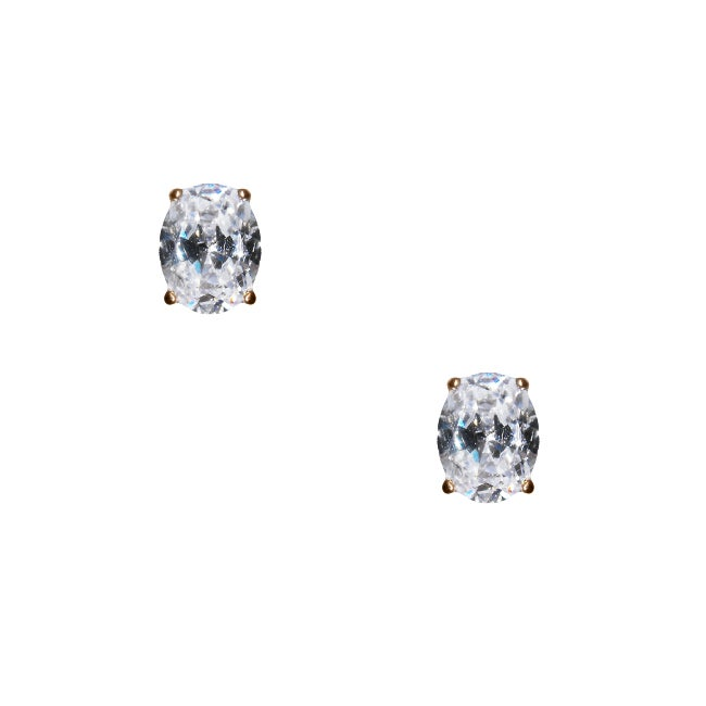 Brown-plated Silver Oval-cut Clear Cubic Zirconia Stud Earrings