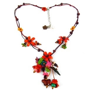 Orange Glass Bead Floral Garden Leather Necklace (Thailand)