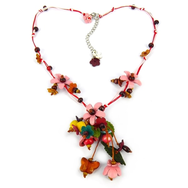 Pink Glass Bead Floral Garden Leather Necklace (Thailand)