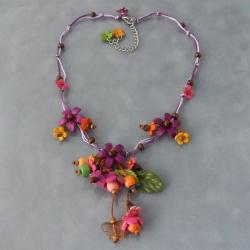 Violet Glass Bead Floral Garden Leather Necklace (Thailand)