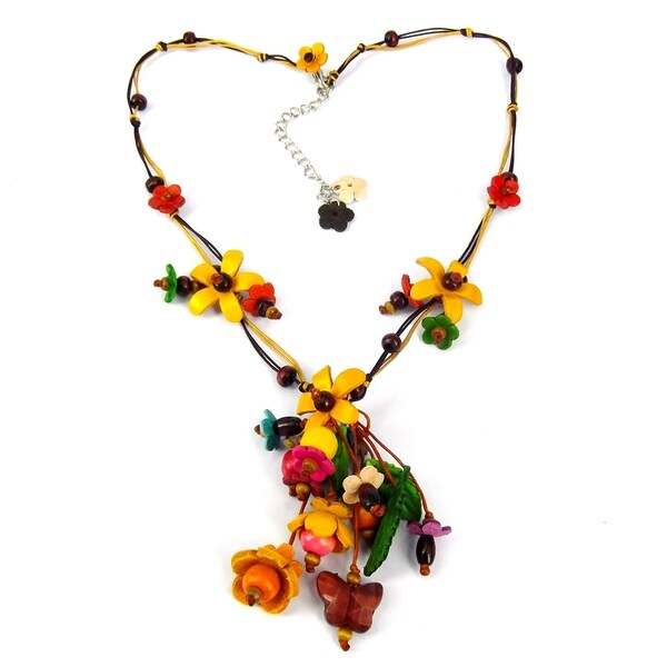 Yellow Glass Bead Floral Garden Leather Necklace