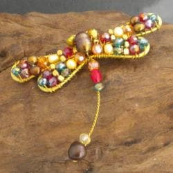 Goldtone Pearl and Crystal Dragonfly Pin (5-9 mm)(Thailand)
