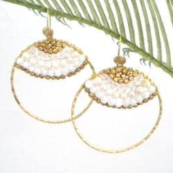 Goldtone Freshwater White Pearl Hoop Earrings (3-4 mm)(Thailand)