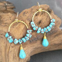 Goldtone Moon Blue Turquoise Hoop Earrings (Thailand)