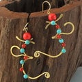 Mythical Aum/Om Turquoise and Red Coral Earrings (Thailand)