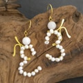 Aum/Om Freshwater White Pearl Earrings (3-5 mm)(Thailand)