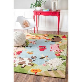 nuLOOM Handmade Kids Animal Farm Wool Rug (5' x 7')