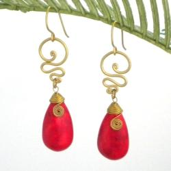 Goldtone Red Coral Teardrop Swirl Earrings (Thailand)