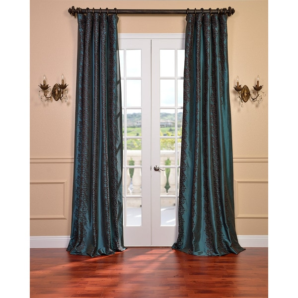 Barroche Ocean Faux Silk Embroidered 120-Inch Curtain Panel