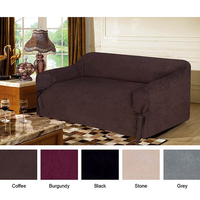 Fashion Street Microsuede Love Seat Slip Cover