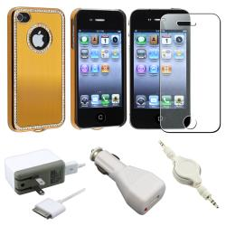 Bling Gold Case/ Screen Protector/ Chargers/ Cable for Apple iPhone 4S