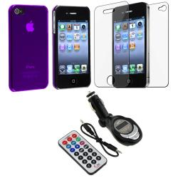 Purple Slim Case/ Screen Protector/ FM Transmitter for Apple iPhone 4S
