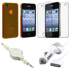 Orange Slim Case/ Screen Protector/ Charger/ Cable for Apple iPhone 4S