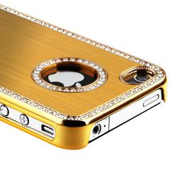INSTEN Bling Gold Phone Case Cover/ Screen Protector for Apple iPhone 4S