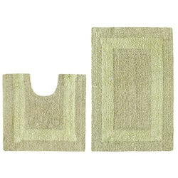 Celebration Reversible 'Race Track' Sage 2-piece Contour and Bath Rug Set