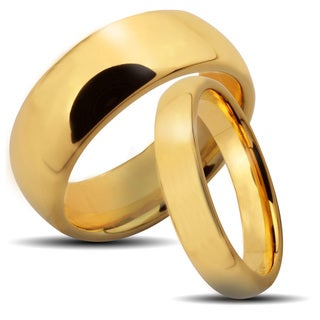 Goldplated Tungsten Carbide Classic His and Hers Wedding Band Set