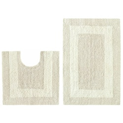 Celebration Reversible 'Race Track' Ivory 2-piece Contour and Bath Rug Set