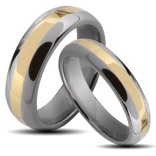 Two-tone Tungsten Carbide Stripe His and Hers Wedding Band Set