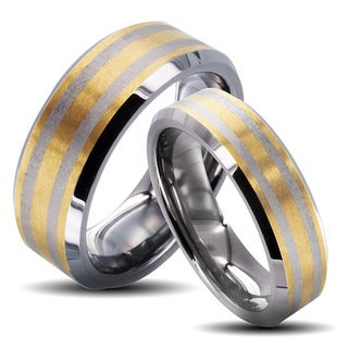 Tungsten Carbide Two-tone Double Stripe His and Hers Wedding Band Set