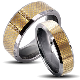 Tungsten Carbide Two-tone Checkered His and Her Wedding Band Set