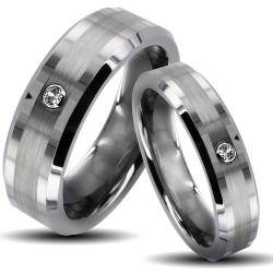 Tungsten Carbide Brushed Center Cubic Zirconia His and Her Wedding Band Set